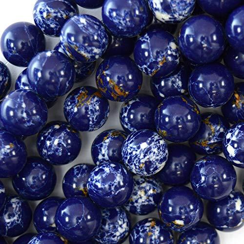 "buyallstore Synthetic Lapis Blue Sea Sediment Jasper Round Beads 15.5"" 4mm 6mm 8mm 10mm 12mm (12mm)"