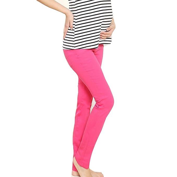 6f43b06ac6e5 Pantaloni Matura Incinta Highdas Pantaloni Lunghi Pantaloni in Cotone per  Primavera e Autunno Rose Red