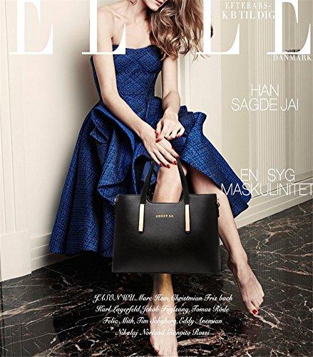 Femme Sac à Main - Fashion Rétro Sac à Main Grande Capacité Sac à Bandoulière Messenger style Coréen en Cuir Pu Femme Sac Fourre Noir