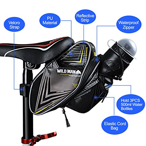 Bike Seat Bag 1.5L Water Bottle Holder PU Waterproof Bike Pack Under Seat for Cycling with Taillight Hoop