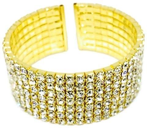 Bracelet Gold Crystal Wedding Rhinestone 7 Row Stretch Bracelet