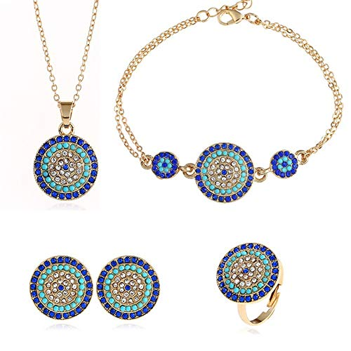 (AILUOR Lucky Round Evil Eye Jewelry Set, Gold Inspirational Turkish Hamsa Blue Cubic Zirconia Crystal Evil Eye Charm Pendant Necklace,Ring,Bracelet and Stud Earrings Sets for Girl Women (Gold))