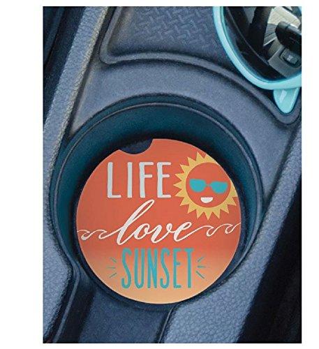 - Set of 2 Auto Coasters - Life Love Sunset.