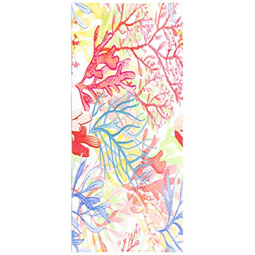 Soopat Beach Towel,Watercolor Coral Reef Seamless Pattern White Natural Texture Wallpaper Fabric 30x60 Inch Outdoors Sand Free Beach Blanket for Travel Sports Beach Yoga Water - Bed Reef Sand