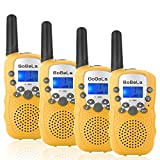 Bobela T388 Best Durable Walkie Talkie as Halloween Gift for Children Seniors/Mini Radio Toys for Kids Adventure/3-5Km Waki Taki with Flashlight Vox for Outdoor Party Riding (Yellow 2 Pairs)