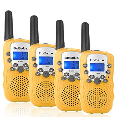 Bobela T388 Best Durable Walkie Talkie as Halloween Gift for Children Seniors/Mini Radio Toys for Kids Adventure/3-5Km Waki Taki with Flashlight Vox for Outdoor Party Riding (Yellow 2 Pairs) by Bobela