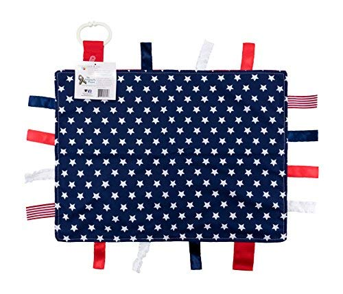 Baby Sensory, Security & Teething Closed Ribbon Tag Lovey Blanket with Minky Dot Fabric: 14