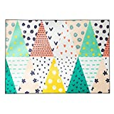 Wolala Home Kids Room Rug Cow Polka Dot Geometry Triangle Stripe Girl Room Area Rug Smooth and Soft Washable Non-slip Livingroom Rug(4'6x6'6, Multi)