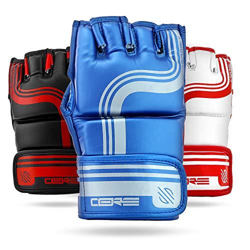 (Sanabul Core Series 4 oz MMA Grappling Gloves (Blue/Silver,)