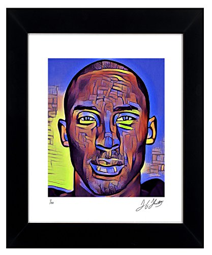 Art Signed Matted Print - Kobe Bryant Framed Wall Art Autographed NBA Collectible by TGTHURKETTLE. Kobe Bryant 1/100 Limited Edition Pop Art Elegantly Framed, Matted, and Signed with Certificate of Authenticity. MADE IN USA