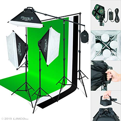 Linco Lincostore 2000 Watt Photo Studio Lighting Kit with 3 Color Muslin Backdrop Stand Photography Flora X Fluorescent 4Socket Light Bank and Auto PopUp Softbox  Only Takes 3 Seconds to Setup