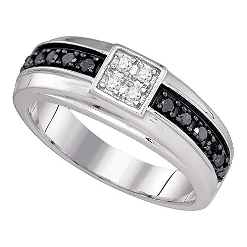 Jewels By Lux 10k White Gold Mens Black Color Enhanced Diamond Wedding Anniversary Band Ring 3/8 Cttw Ring Size 11
