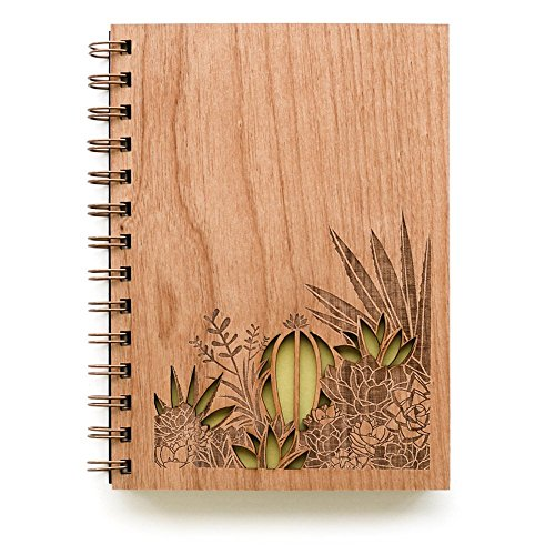 Desert Garden Laser Cut Wood Journal (Notebook / Birthday Gift / Gratitude Journal / Handmade)