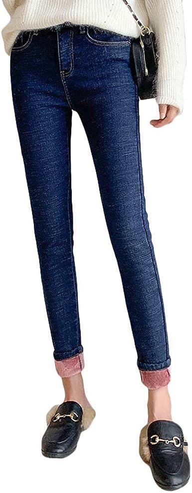 Dooxii Leggings Donna Termici Felpati Caldi Elastici Opaco Jeans Jeggings Pantaloni Alta Vita Inverno