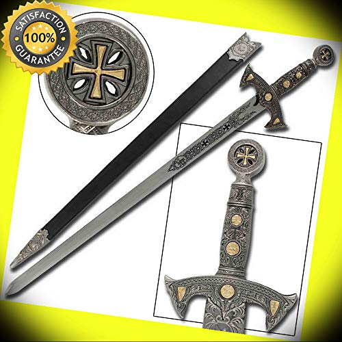 Knights Templar Blade of Honor Silver Medieval Replica Longsword perfect for cosplay outdoor camping