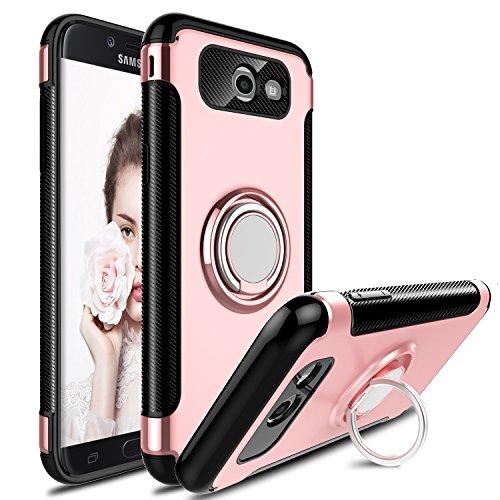 Innens Compatible Galaxy J7 V Case, J7 Perx Case, J7 Sky Pro Case, J7 Prime Case, Shock-Absorption Anti-Scratch Slim Protective Case with Ring Bracket Kickstand Compatible Galaxy J7 2017 (Rose Gold)
