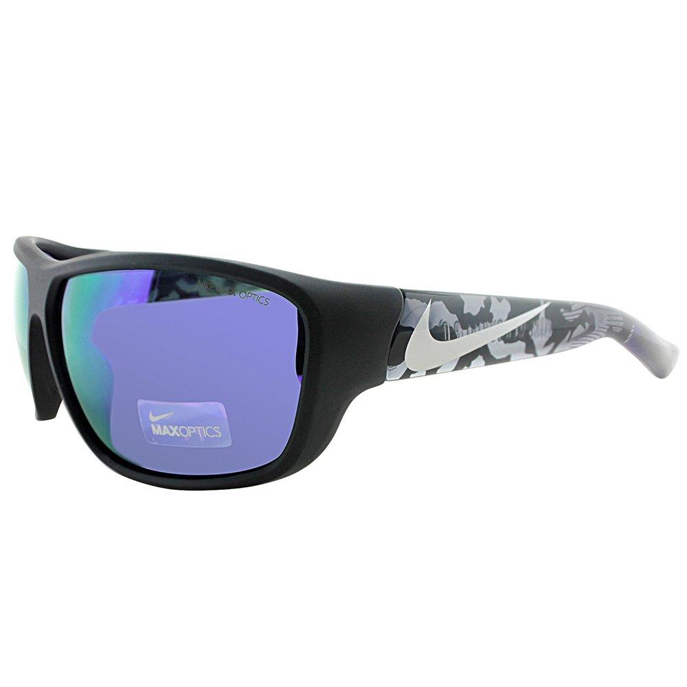 Nike Golf Mercurial 8.0 R Sunglasses, Matte Black/Silver/Anthracite Camo Frame, Grey with Ml Violet Flash Lens