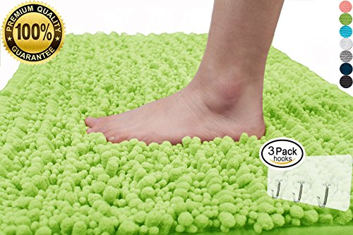 Yimobra Plush Texture Bath Rug Large 31.5 X 19.8 Inch Microfiber Non-slip Soft Shower High Absorbent Green with Wall Hooks 3 Pack