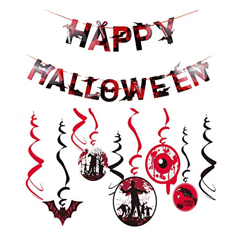 Dmaxia Happy Halloween Banner,Halloween Swirl Decoration,Bloody Halloween Theme Party Decoration,Hanging Photo Props Wall Decor for Home School Office -