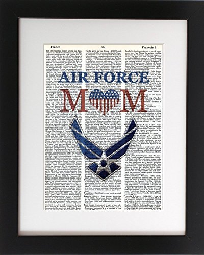 Air Force Mom - Upcycled Dictionary Military Wall Art Print 8x10. Tribute to the Armed Services. - UNFRAMED - Frame and matting are for presentation purposes only to show you how they can look.