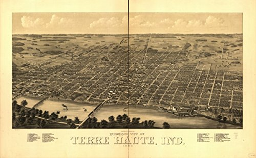 Map: 1880 Panoramic View of Terre Haute, Ind. 1880 Indiana Terre Haute Terre Haute Ind 
