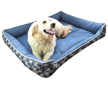 Cama para Mascotas Rectangular Lavable Cómodo Casa para Mascotas Cesta para Perro Adecuado para Gatos y Perros de Todos Los Tamaños Azul M: Amazon.es: ...