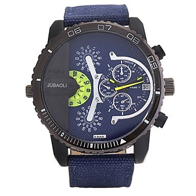 HWCOO Relojes JUBAOLI Hombre Reloj Casual Chino Cuarzo Esfera Grande Acero Inoxidable Banda Cool Negro Blanco