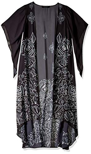 LAUNDRY BY SHELLI SEGAL Women's Graphic Floral Maxi Vest, black, One Size
