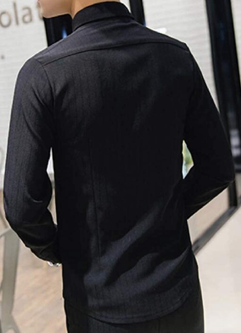 ARTFFEL Men Turn Down Collar Solid Hair Stylist Work Slim Fit Long Sleeve Button Down Blouse Shirt Tops