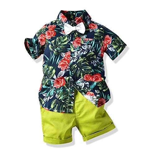Moyikiss Studio Summer Fashion Little Boys Gentleman Casual Outfit Sets Short Sleeve Printed Shirt+Shorts 2Pcs (Green-a, 100/3Years) ()