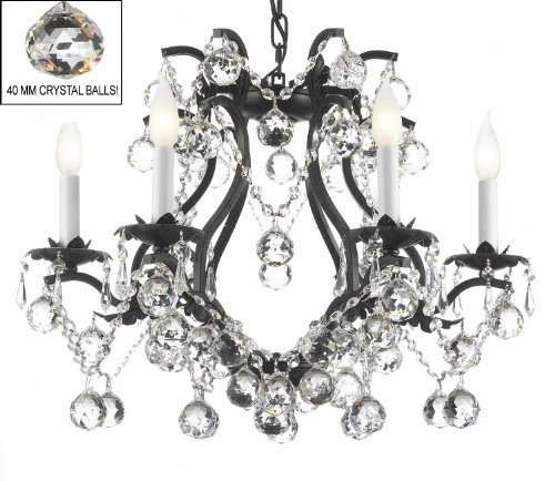 BLACK WROUGHT IRON CRYSTAL CHANDELIER LIGHTING H 19″ W 20″ DRESSED WITH FENG SHUI 40MM CRYSTAL BALLS!