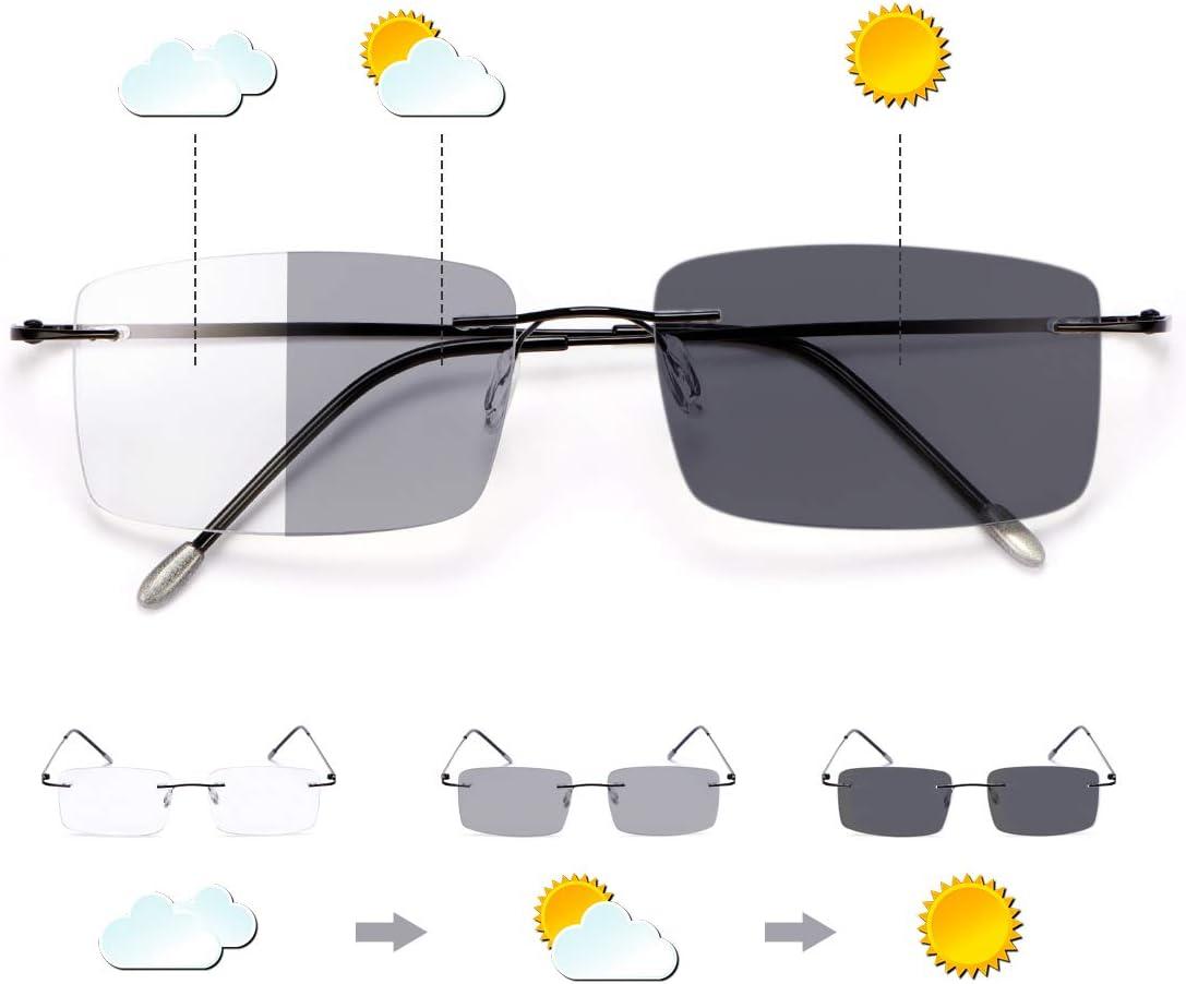 Gafas de lectura fotocromáticas progresivas multifocales de transición con bloqueo de luz azul, multifocales, lectores de sol, antideslumbrantes, antifatiga ocular ligera UV400, para hombres y mujeres