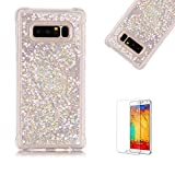 Funyye Liquid Quicksand Case for Samsung Galaxy Note 8,Sparkly Flowing Glitter Silver Love Hearts TPU Case for Samsung Galaxy Note 8,Slim Soft Rubber Flexible Clear Protective Silicone Case for Samsung Galaxy Note 8 + 1 x Free Screen Protector