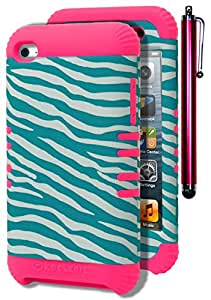 iPod Touch 4 Case, Bastex Heavy Duty Hybrid Protective Case - Hot Pink Silicone Cover with Sky Blue and White Zebra Print Design Hard Shell Case for Apple iPod Touch 4, 4th Generation **INCLUDES PINK STYLUS**