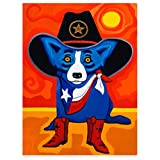''HommomH'' 60'' x 80'' BBlanket Comfort Cozy Soft Warm Throw One Sides Blue Dog with The Texas Cowboy Hat