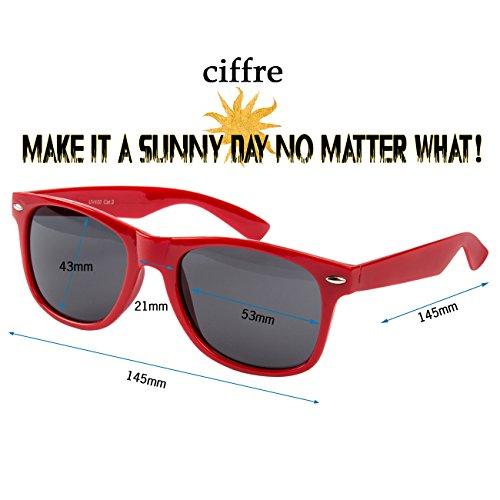 hombre Retro de clásico sol para mujer Nuevas Gafas Vintage UV®400 Rojo Ciffre Nerd Pt0qCw