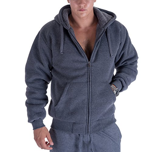 rpa Lined Fleece Hoodies For Men Plus Size Big and Tall Jackets (3XL, Dark Grey) (Sherpa Lined Thermal)