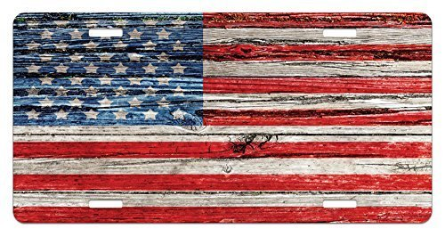 zaeshe3536658 USA License Plate, Fourth of July Independence Day Painted Wooden PaneWalLooking Image Freedom, High Gloss Aluminum Novelty Plate, 6 X 12 Inches, Blue Red Beige by zaeshe3536658
