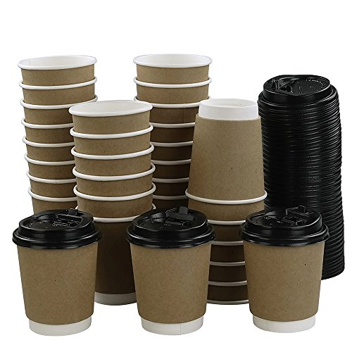 Eagrye 8 Oz To Go Paper Cups with Lids, 100-Count