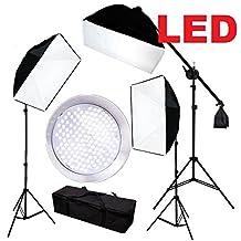 CanadianStudio Pro Continuous 3-head LED Lighting Kit 3 x 144PCS 5500K LED beads Softbox Studio boom arm Light Stand Kit