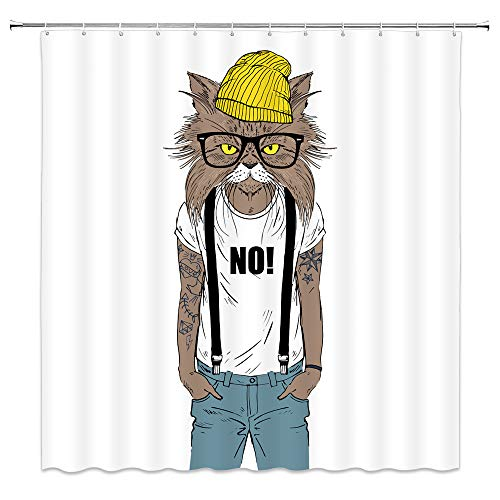 AMNYSF Cartoon Cat Shower Curtain Fun Pet Kitten Dressed Up Like Fashion Hipster Man Decor White Fabric Bathroom Curtains,70x70 Inches Waterproof Polyester with 12pcs Hooks