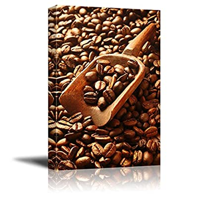 Canvas Prints Wall Art - Aromatic Fresh Roasted Coffee Beans with a Wooden Scoop | Modern Wall Decor/Home Decoration Stretched Gallery Canvas Wrap Giclee Print & Ready to Hang - 18