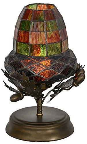 Meyda Tiffany 152371 12'' Height Greenbriar Oak Lamp, Mini