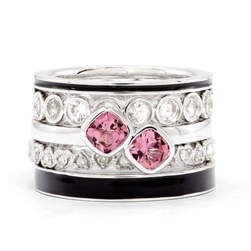 Sterling Silver, Enamel, Gemstone & Diamond Pink Paradise Ring Set (I3 Clarity, H-I Color) Size 10