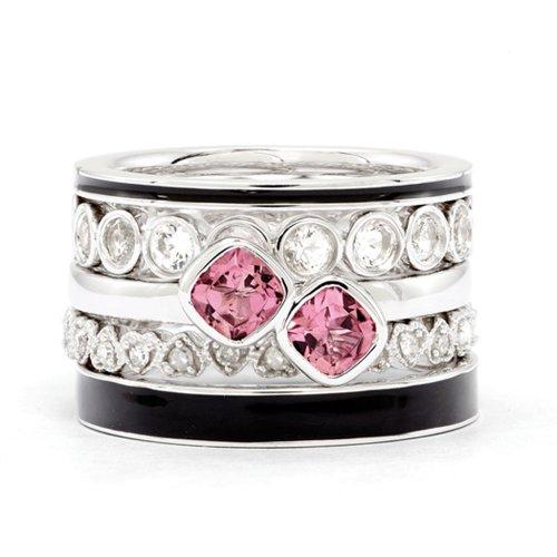 Sterling Silver, Enamel, Gemstone & Diamond Pink Paradise Ring Set (I3 Clarity, H-I Color) Size 10