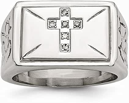 Stainless Steel Diamond Cross with Textured Sides Polished Ring