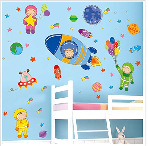 Spaceship Sticker - Wowelife Space Wall Stickers Kids Astronaut Rocket Spaceship Balloon Wall Decals Removable for Kids' Bathroom, Toddlers' Bedroom and Nursery Rooms(Space Fun)