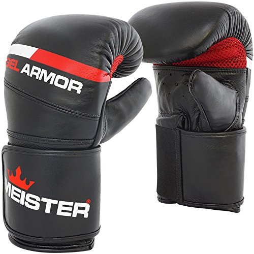 Meister Gel Armor Full-Grain Cowhide Leather Bag Mitts w/Wrist Support - Black - Large/X-Large (16oz)