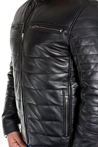 Herren-Schwarz-Leder geklotzt und Steppjacke mit Tab-Kragen