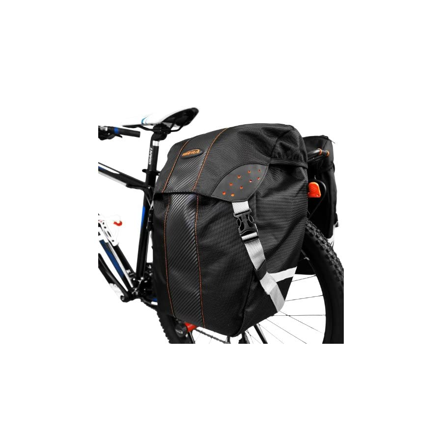 Ibera Bicycle PakRak Clip On Quick Release All Weather Single Pannier with Rain Cover